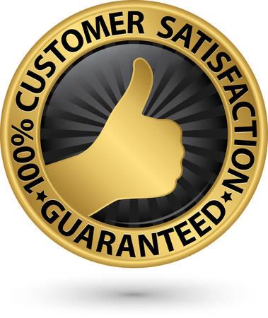 satisfaction guaranteed: 100 percent customer satisfaction guaranteed golden sign with ribbon, vector illustration