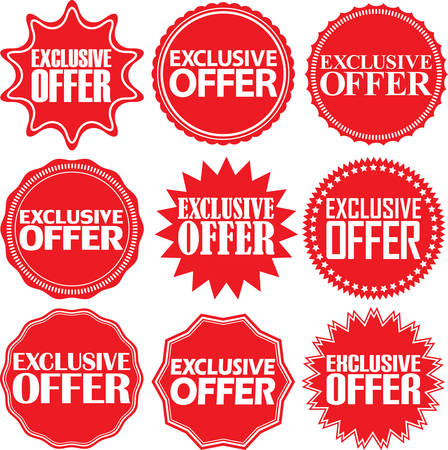 exclusive: Exclusive offer red label. Exclusive offer red sign. Exclusive offer red banner. Vector illustration Illustration