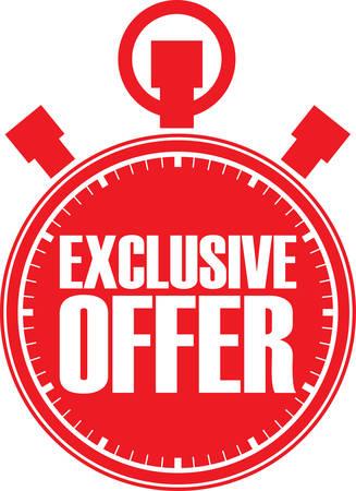 big timer: Exclusive offer red stopwatch, vector illustration Illustration