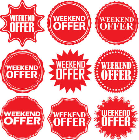 red sign: Weekend offer red label. Weekend offer red sign. Weekend offer red banner. Vector illustration Illustration