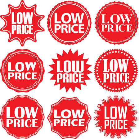 low price: Low price red label. Low price red sign. Low price red banner. Vector illustration Illustration