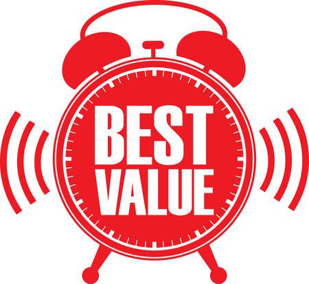 alarm clock: Best value red alarm clock, vector illustration Illustration