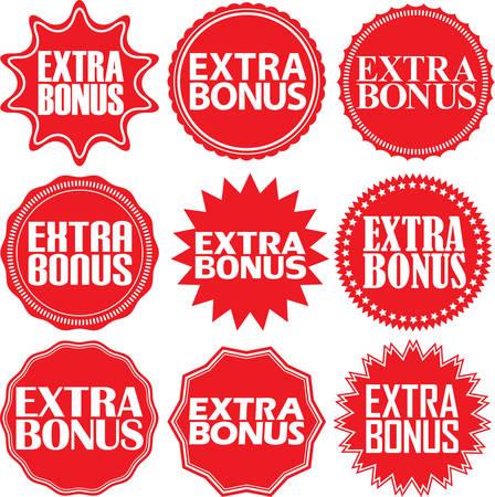extra: Extra bonus red label. Extra bonus red sign. Extra bonus red banner. Vector illustration Illustration