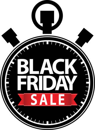 big timer: Black friday sale stopwatch black icon with red ribbon illustration