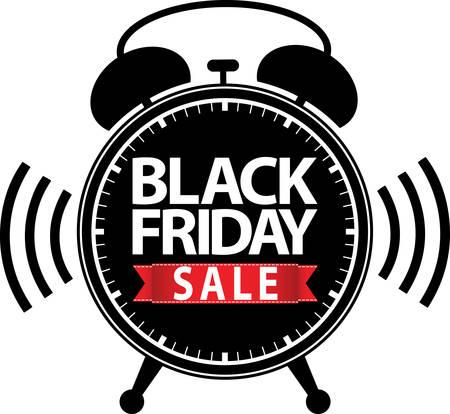 big timer: Black friday big sale alarm clock black icon with red ribbon illustration