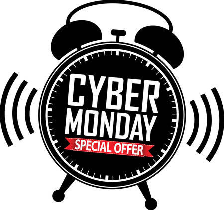 offer icon: Cyber monday special offer alarm clock black icon with red ribbon illustration