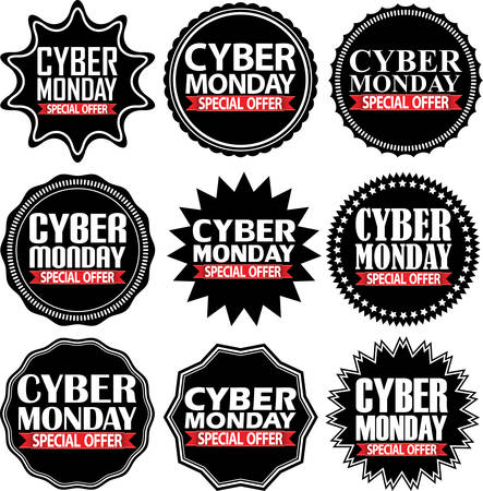 Cyber monday special offer black signs set illustration