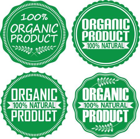 hundred: Organic product 100% natural green signs set, illustration Illustration