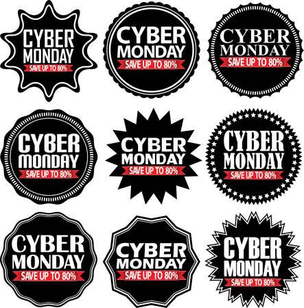80: Cyber monday save up to 80%  black signs set, illustration