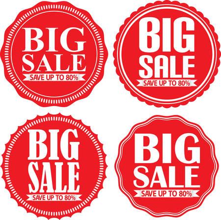 80: Big sale save up to 80% red label set, illustration