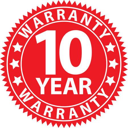 10 year warranty red sign, vector illustration Illustration