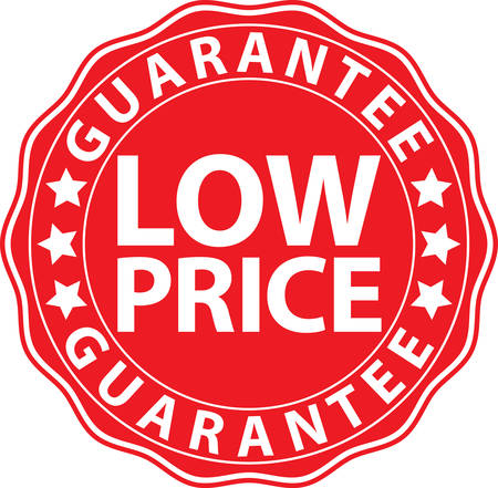low price: Low price guarantee red sign, vector illustration