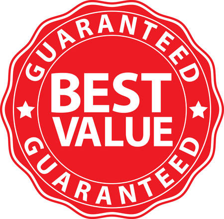 red sign: Best value guaranteed red sign, vector illustration