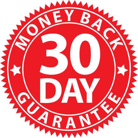 30 日間のお金の背部保証赤い看板、ベクトル図