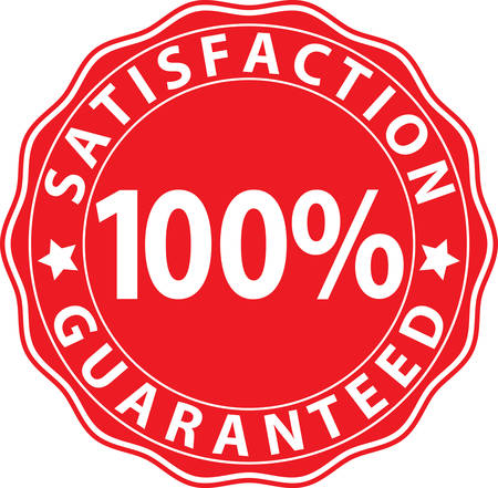 red sign: Satisfaction 100% guaranteed red sign, vector illustration