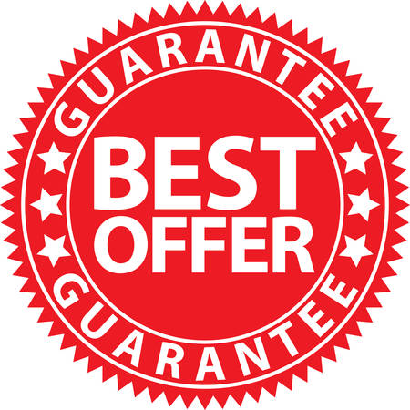 Best offer guarantee red sign, vector illustration