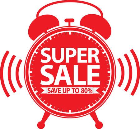 Super sale red alarm clock, vector illustration