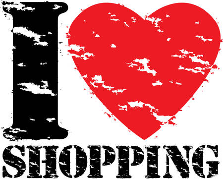 retail sales: I love shopping grunge rubber stamp vector illustration