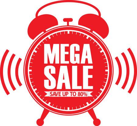 mega: Mega sale red alarm clock, vector illustration Illustration