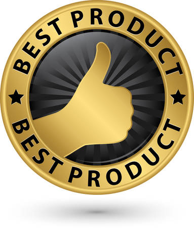 Best product golden sign with thumb up, vector illustration