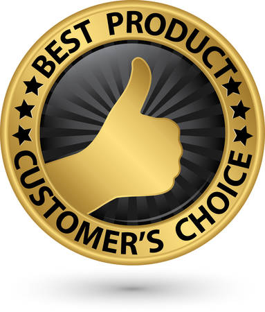 best hand: Best product customers choice golden sign with thumb up, vector illustration