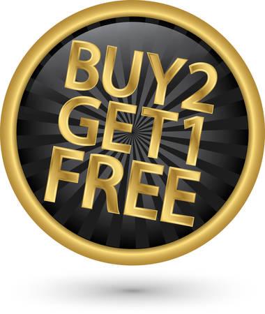 1: Buy 2 get 1 free golden label, vector illustration
