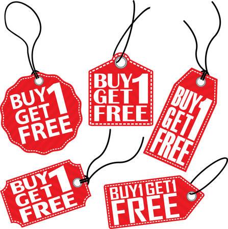 Acheter 1 1 gratuit tag set rouge, illustration vectorielle Vecteurs