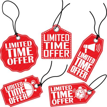 big timer: Limited time offer red tag set, vector illustration