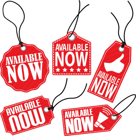 available: Available now red tag set, vector illustration