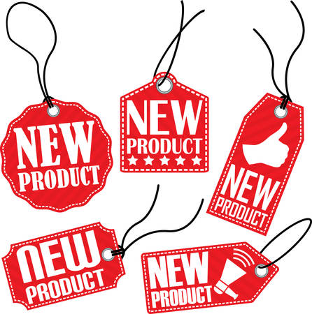 proclaim: New product red tag set, vector illustration