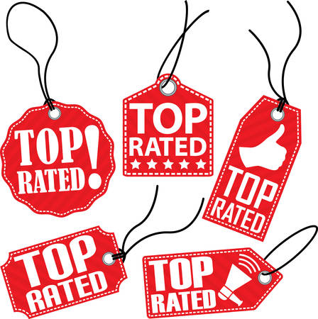 rated: Top rated red tag set, vector illustration