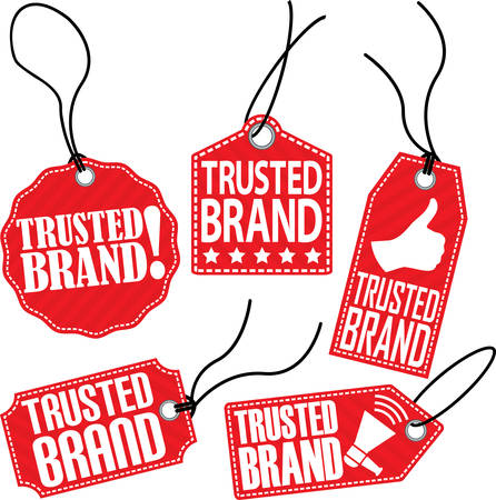 trusted: Trusted brand red tag set, vector illustration