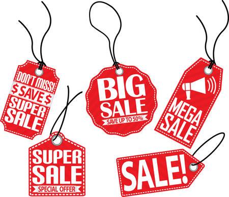 sale tag: Sale red tag set, vector illustration Illustration