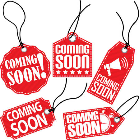 notify: Coming soon red tag set, vector illustration