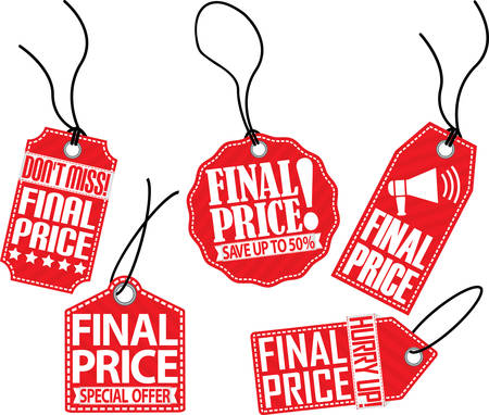 hurry up: Final price red tag set, vector illustration