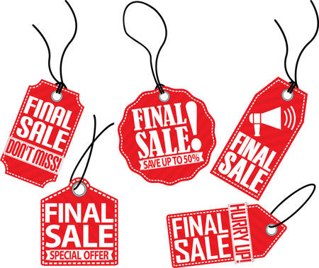 sale tag: Final sale red tag set, vector illustration