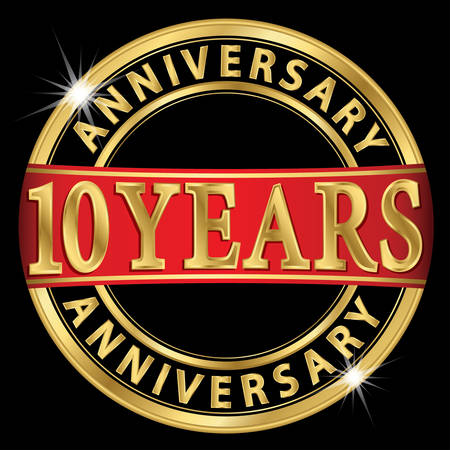 an anniversary: 10 years anniversary golden label with red ribbon, vector illustration