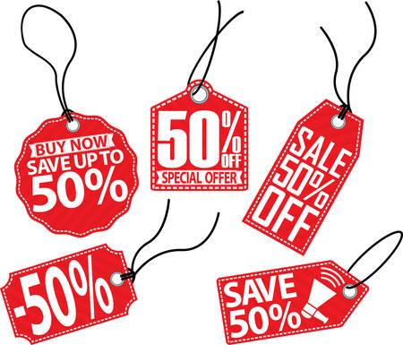 50 off: 50% off tag set, vector illustration Illustration