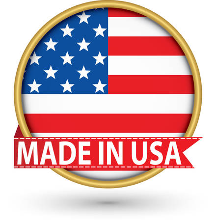 Made in the USA golden label with flag, vector illustration