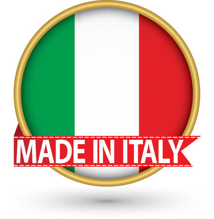 Made in Italy golden label with flag, vector illustration Illustration