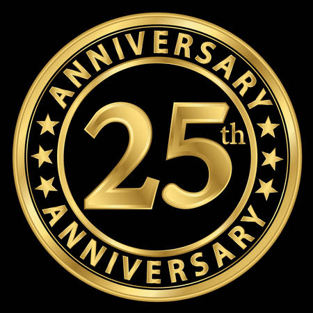 25th: 25th anniversary golden label, 25 year anniversary golden sign, vector illustration