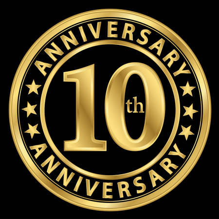 10th: 10th anniversary golden label, 10 year anniversary golden sign, vector illustration