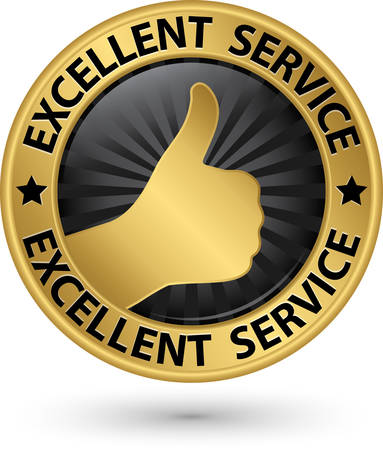 excellent service: Excellent service golden sign with thumb up, vector illustration