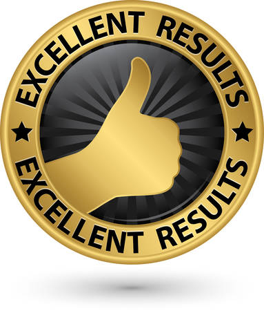 Excellent results golden sign with thumb up, vector illustration