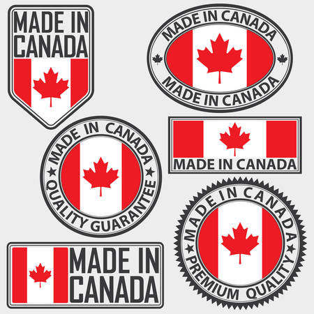 Made in Canada label set with flag, vector illustration