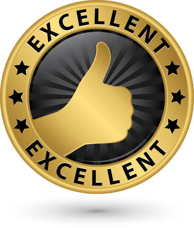 Excellent golden sign with thumb up, vector illustration