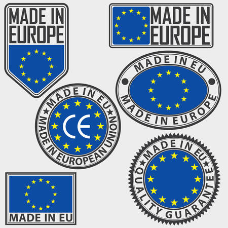 sign in: Made in Europe label set with flag, made in EU sign set, vector illustration Illustration
