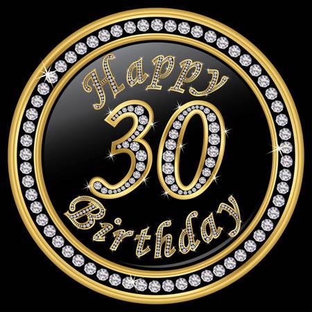 30th: Happy 30th birthday, happy birthday 30 years, golden icon with diamonds, vector illustration