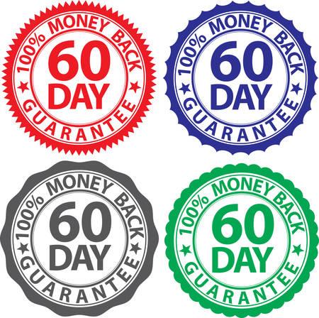 60 day 100% money back guarantee sign set, vector illustration