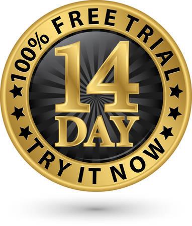 14 dagen gratis op proef probeer het nu gouden label, vector illustratie